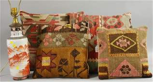 808: Two Pairs of Decorative Kelim Upholstered Pillows