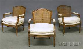 980 Set of Three Louis XVIstyle Upholstered and Caned