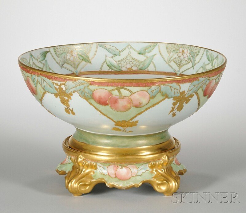 1038: Gilt and Hand-painted Cherries and Floral-decorat