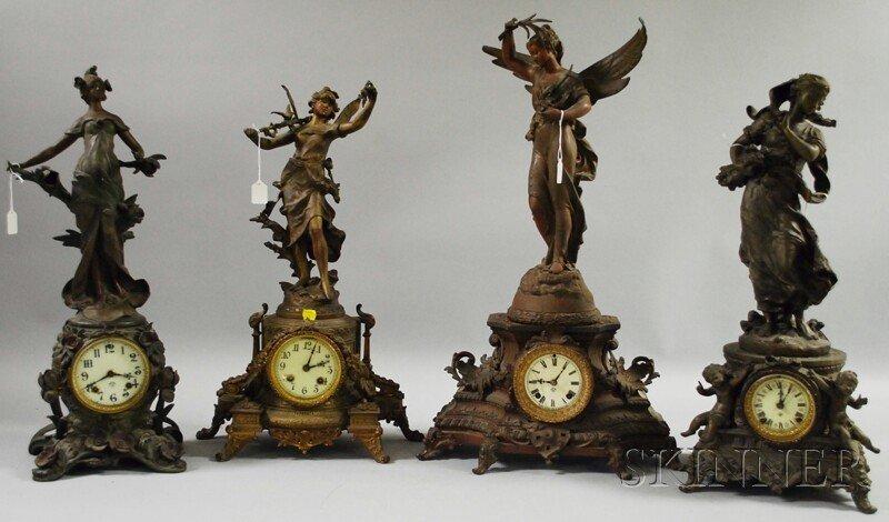 1062: Four Ansonia Statuary Clocks, Brooklyn, New York,