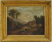 1149 19th Century Continental School Oil on Canvas Lak