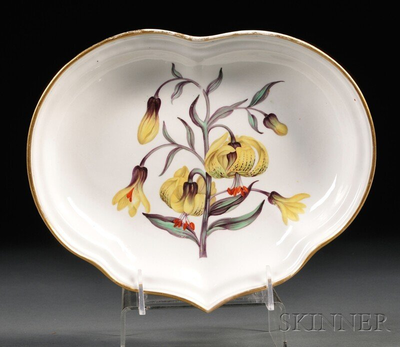 5A: Derby Porcelain Botanical Dish, England, early 19th
