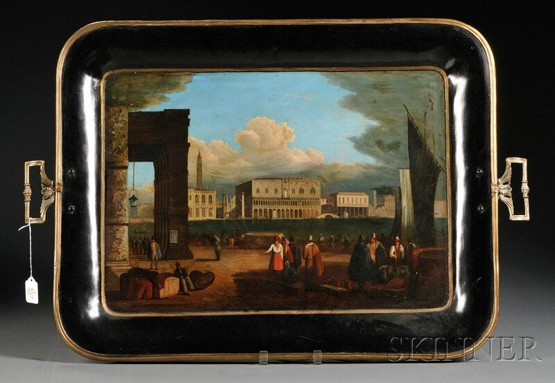 8: Large Painted Black Tray with Venetian Scene, with b