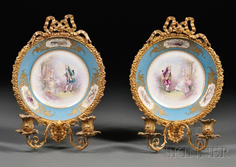 9: Pair of Louis XV-style Two-light Bronze-mounted Porc