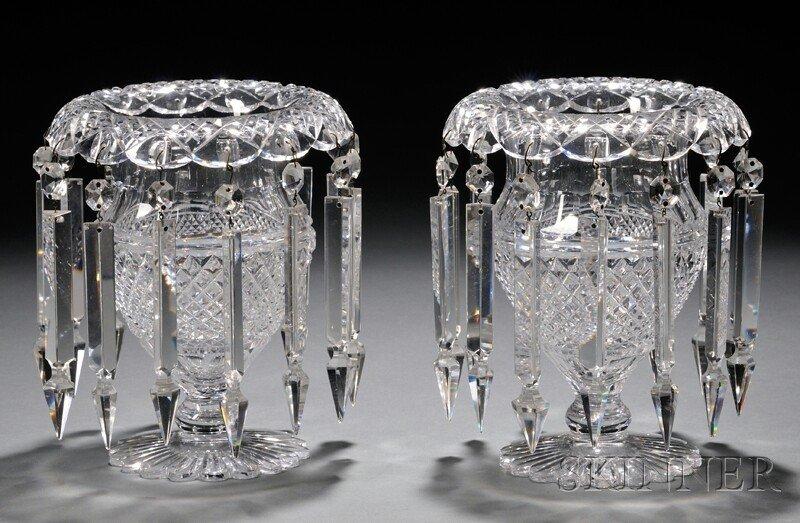 11: Pair of Cut Glass Girandoles, each urn-form, with e