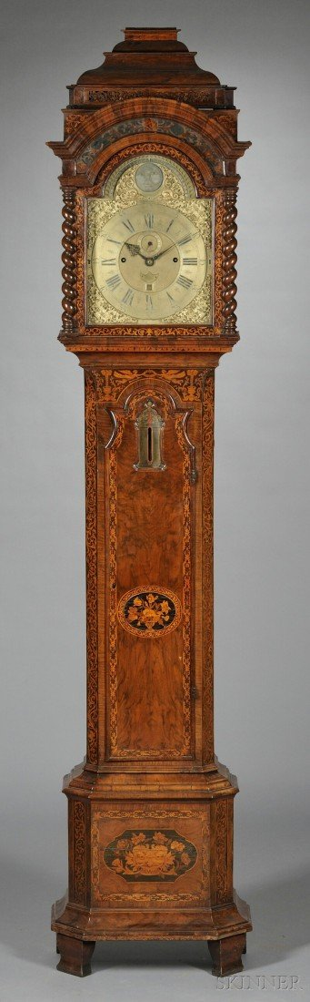14: Dutch Marquetry-inlaid Tall Case Clock with Baromet