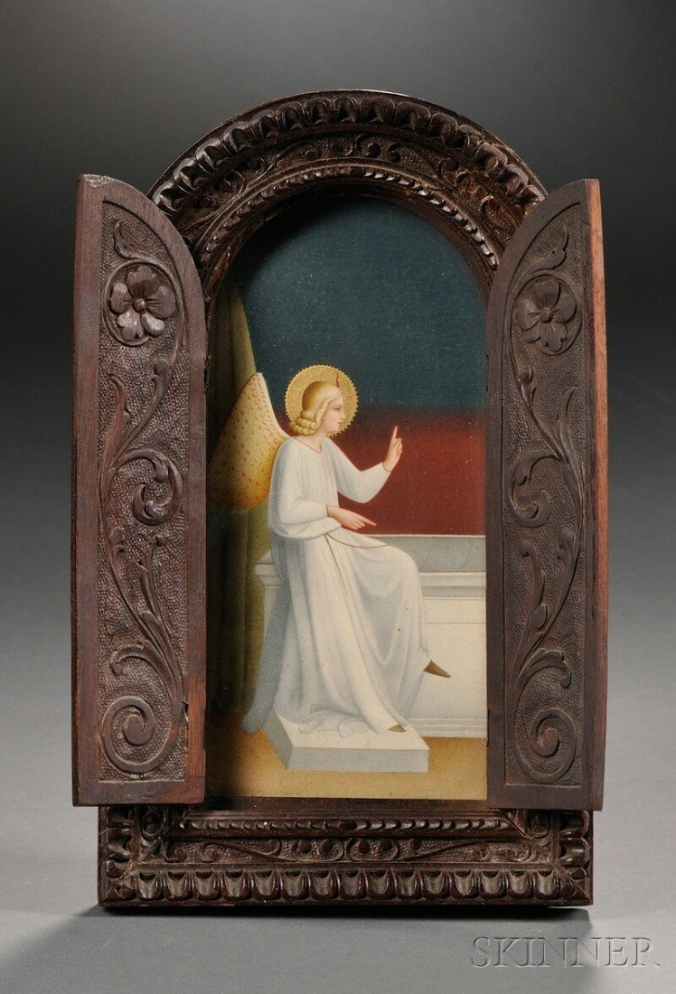 17: Painting of an Angel in a Carved Wood Frame, gouach