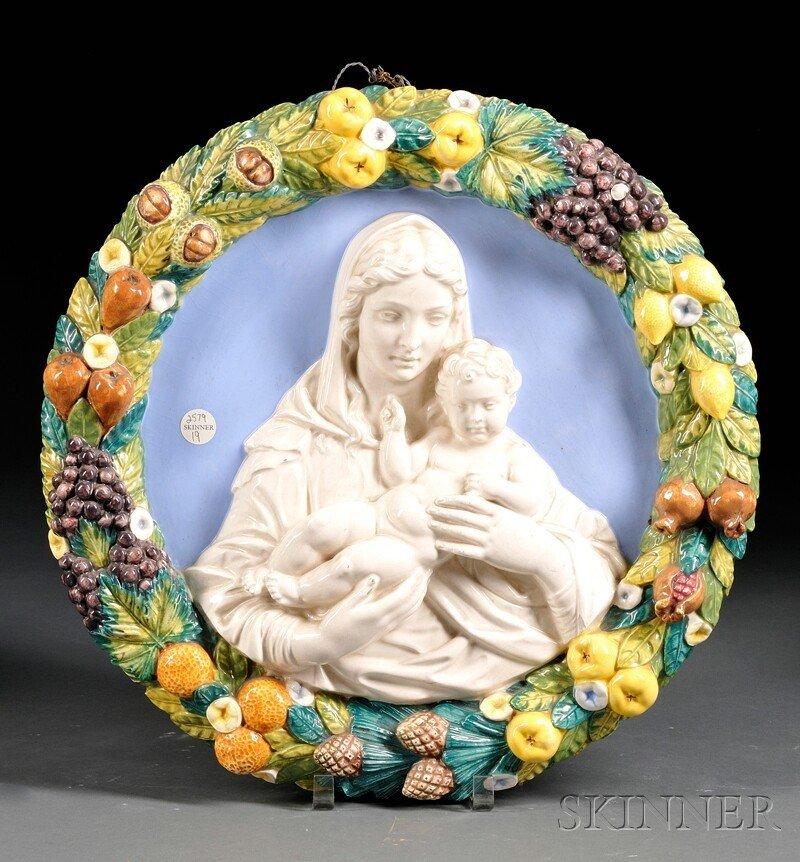 19: Italian Della Robbia-style Ceramic Roundel of the M