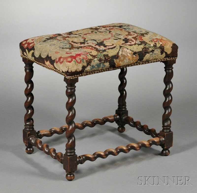 21: Jacobean-style Tapestry Upholstered Stool, with rec