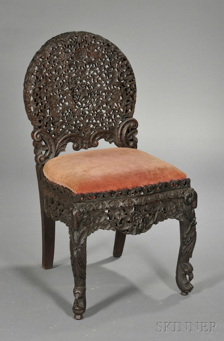 200: Carved Teak Side Chair, the circular openwork back