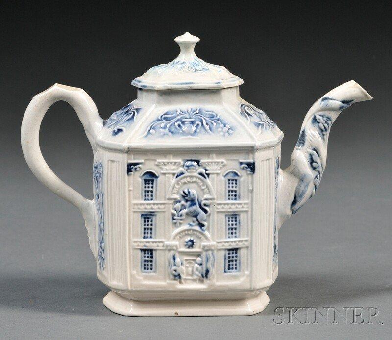 201: Staffordshire Salt-glazed Stoneware Mansion Teapot