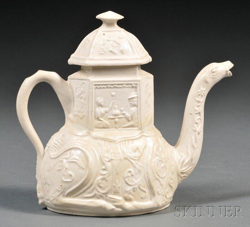 203: Staffordshire Salt-glazed Stoneware Camel Teapot a