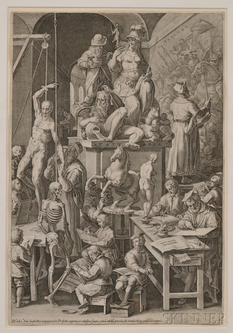 377: Cornelis Cort (Dutch, 1533-1578) The Drawing Acade