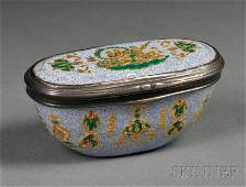 723 Continental Silvermounted Enameled Copper Snuff B