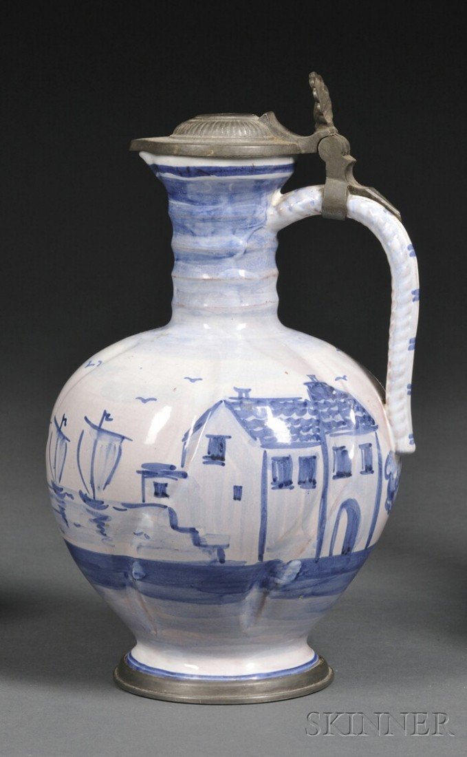 3: Tin-glazed Redware Ewer, likely Germany, the pewter