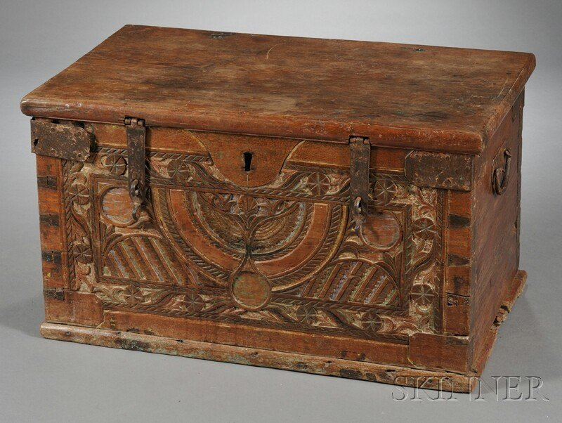 5: Carved Wood Trunk, with polychrome chip-carved front