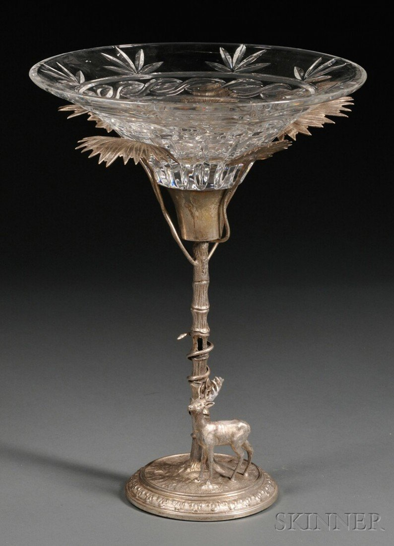 10: Silvered Metal Figural Tazza Centerpiece, late 19th