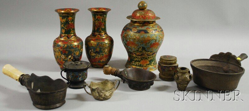 13: Small Group of Assorted Asian Metalwork Items, incl