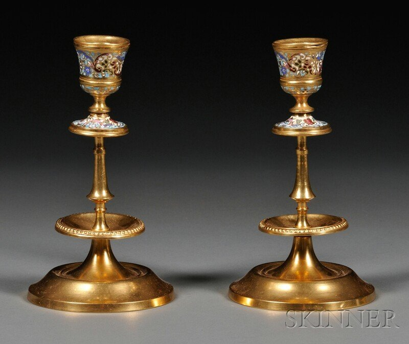 18: Pair of Champleve and Gilt-metal Candlesticks, with