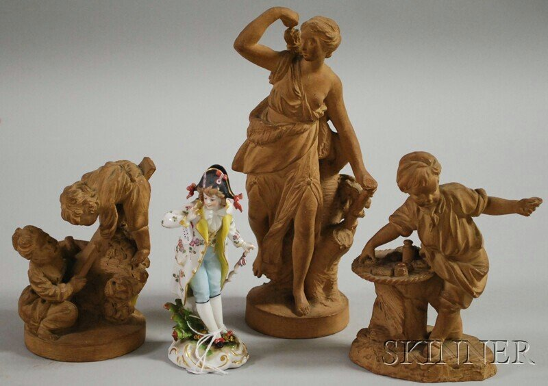 19: Four Ceramic Figures and Figural Groups, a Meissen-