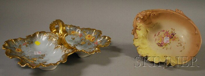 22: Two European Gilt and Hand-painted Floral-decorated