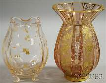 45 Two Enameled Glass Vases a pinched neck over bulbo