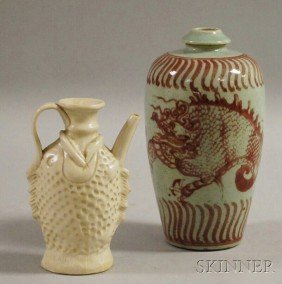 Two Asian Ceramic Items, A White Ware Fish-form Ew