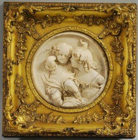 """Wyon Alabaster Plaque Of Two Children, Signed """"E.W"""