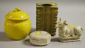 Four Small Asian Ceramic Articles, A Rectangular T