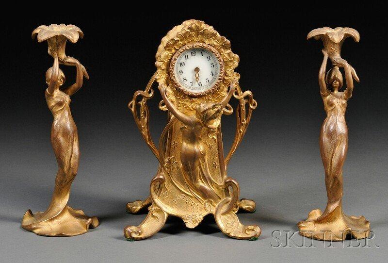 175: New Haven Clock Co. Art Nouveau Gilt-metal Figural
