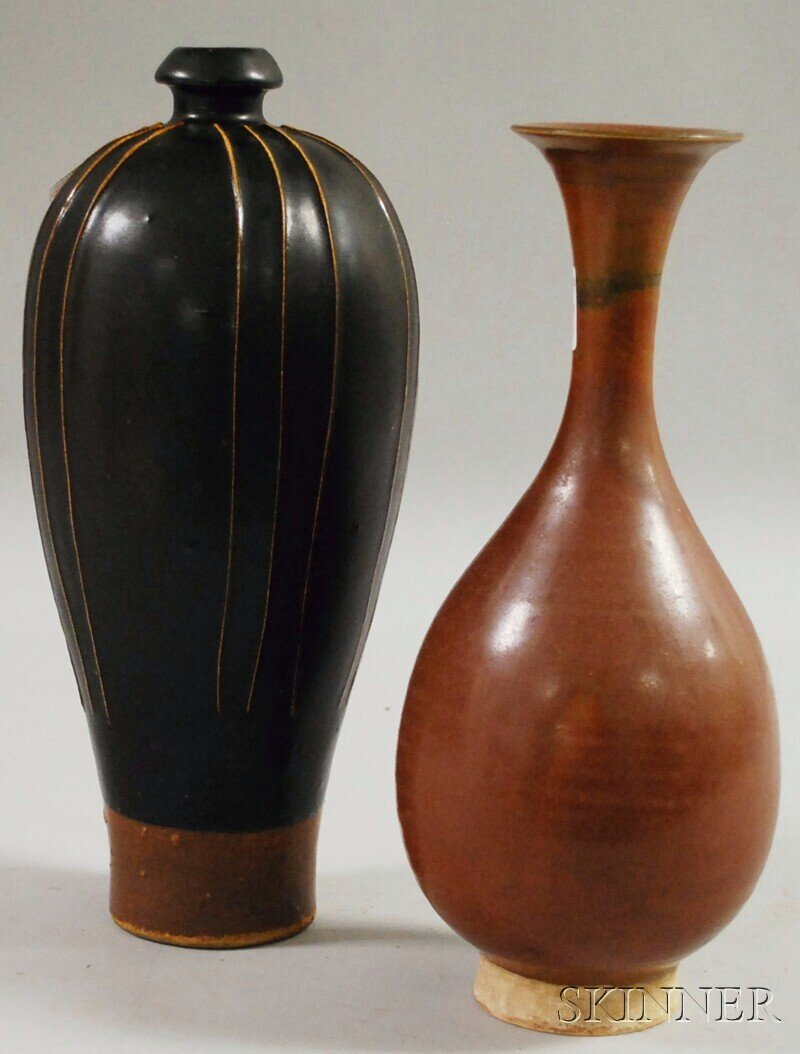 176: Two Northern Asian Brownware Vases, one bottle-for