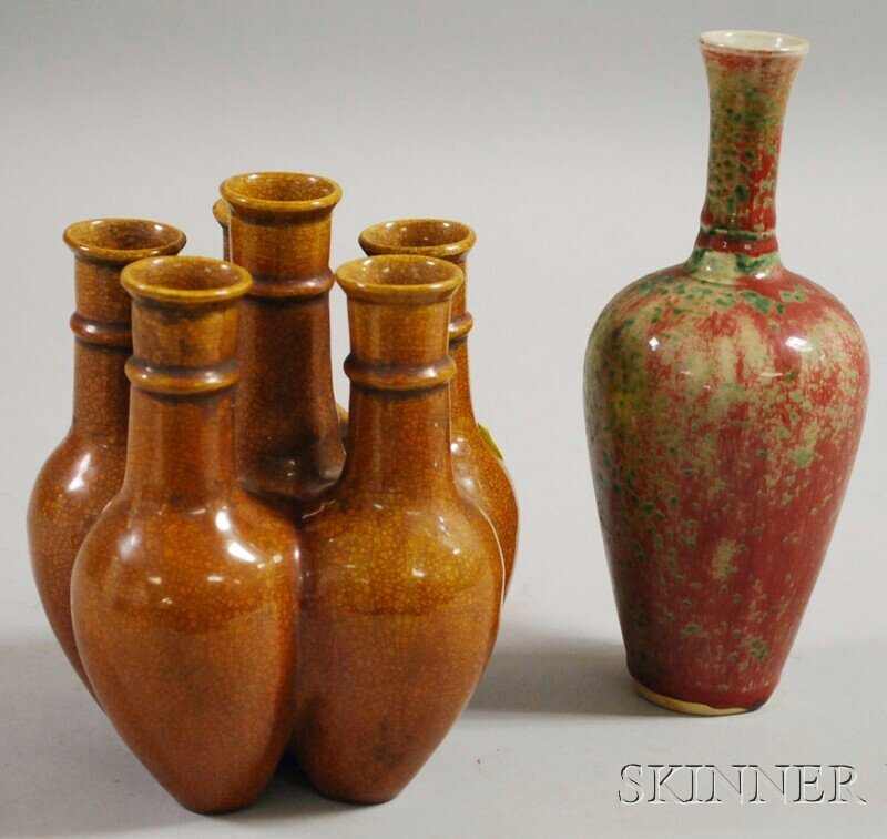183: Two Asian Ceramic Vases, a peachbloom bottle-form