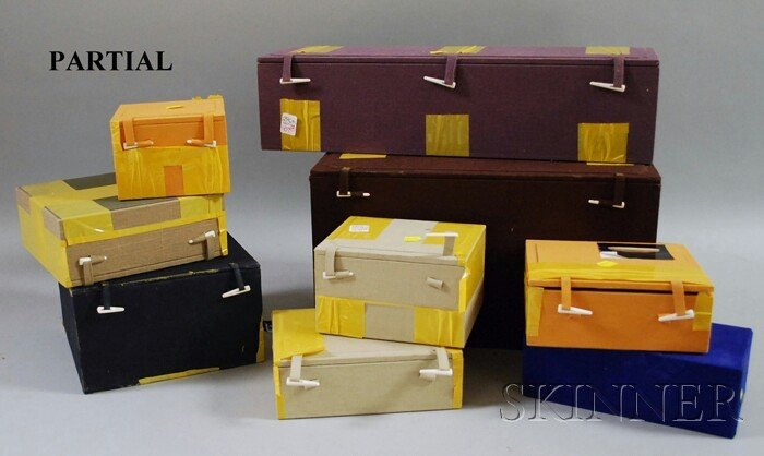 190: Nineteen Assorted Asian Cloth-covered Boxes with F