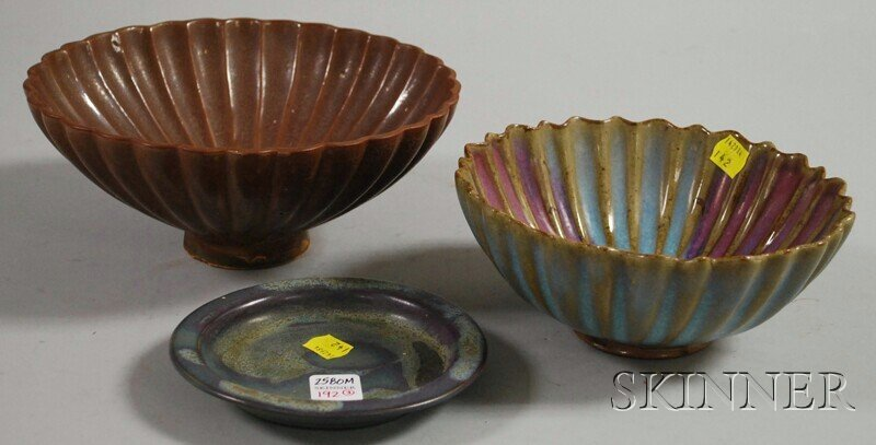 192: Two Chun-style Bowls and a Dish, a scalloped brown