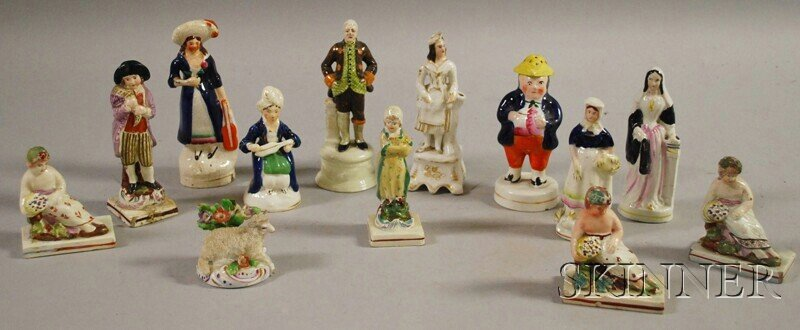 385: Thirteen Small Victorian Staffordshire Pottery Fig