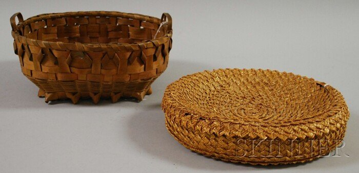 504: Two Round Baskets, including a Native American spl
