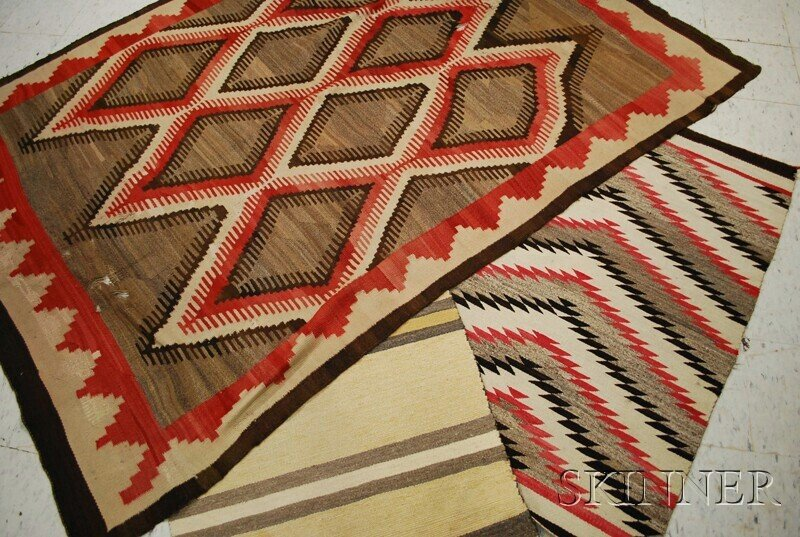 506: Three Navajo Weavings, various patterns, (damage).