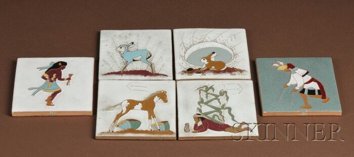 510: Six Southwest Polychrome Ceramic Tiles, four signe