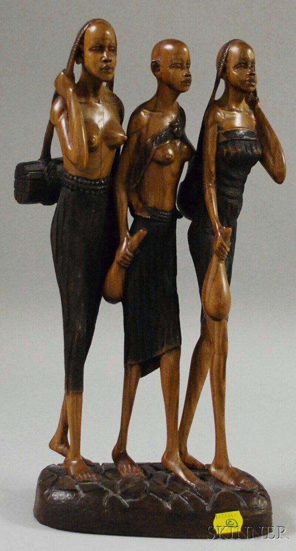 513: Decorative Masai Wooden Figural Group, Kenya, 20th