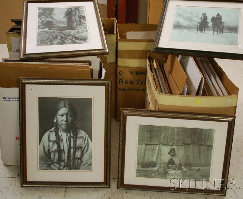 524: Fifty-eight Framed Offset Prints After Edward S. C