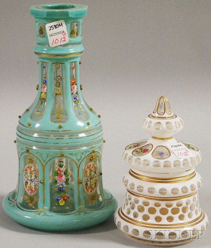 1012: Two Bohemian Cased-cut-to-clear Art Glass Items,