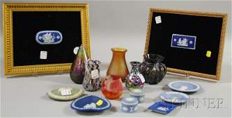 1181: Six Pieces of Assorted Art Glass and Nine Small J