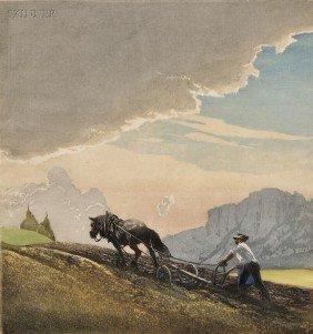 Hans Frank (Austrian, 1884-1948) Plowing, 1934. Sig