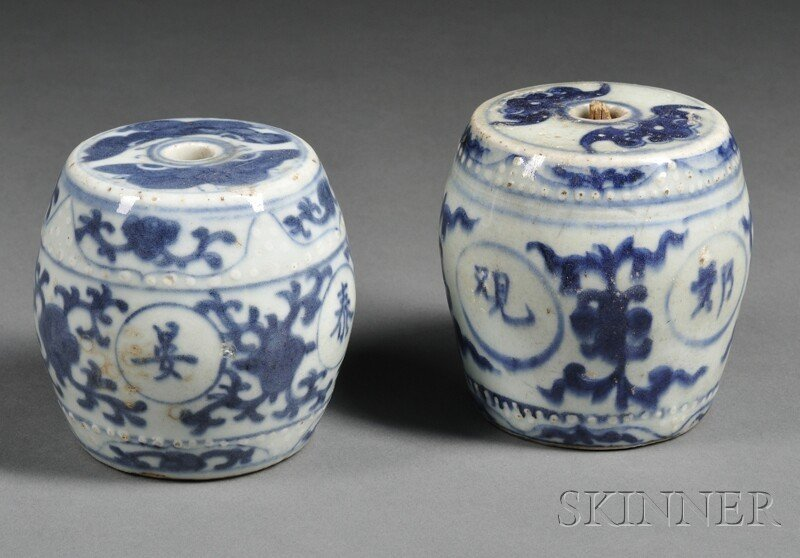 1: Two Blue and White Brush Weights, China, garden seat