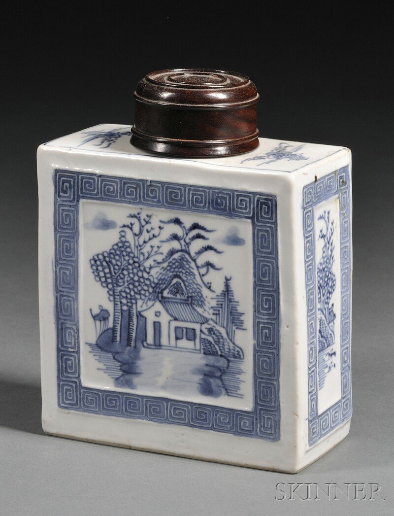2: Blue and White Tea Caddy, China, flattened square fo