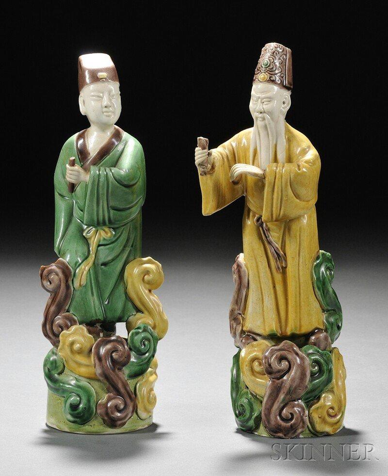 4: Pair of Immortals, China, Sancai glazed Immortals st