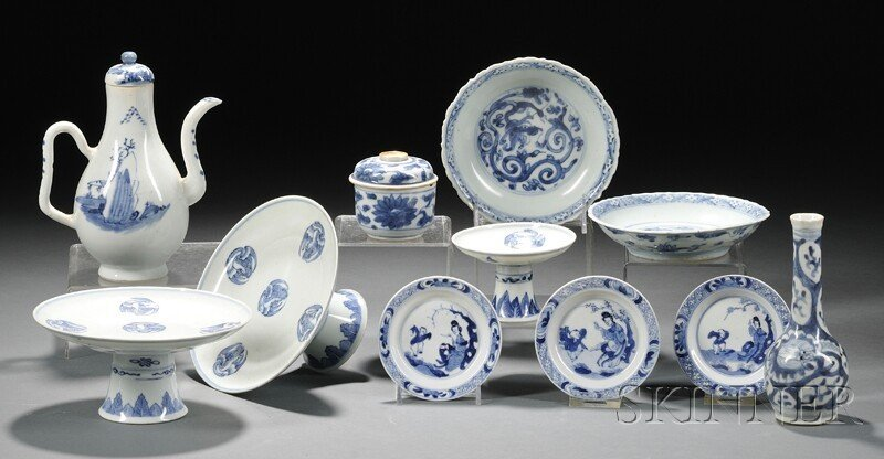 6: Eleven Blue and White Items, China, 19th century, a