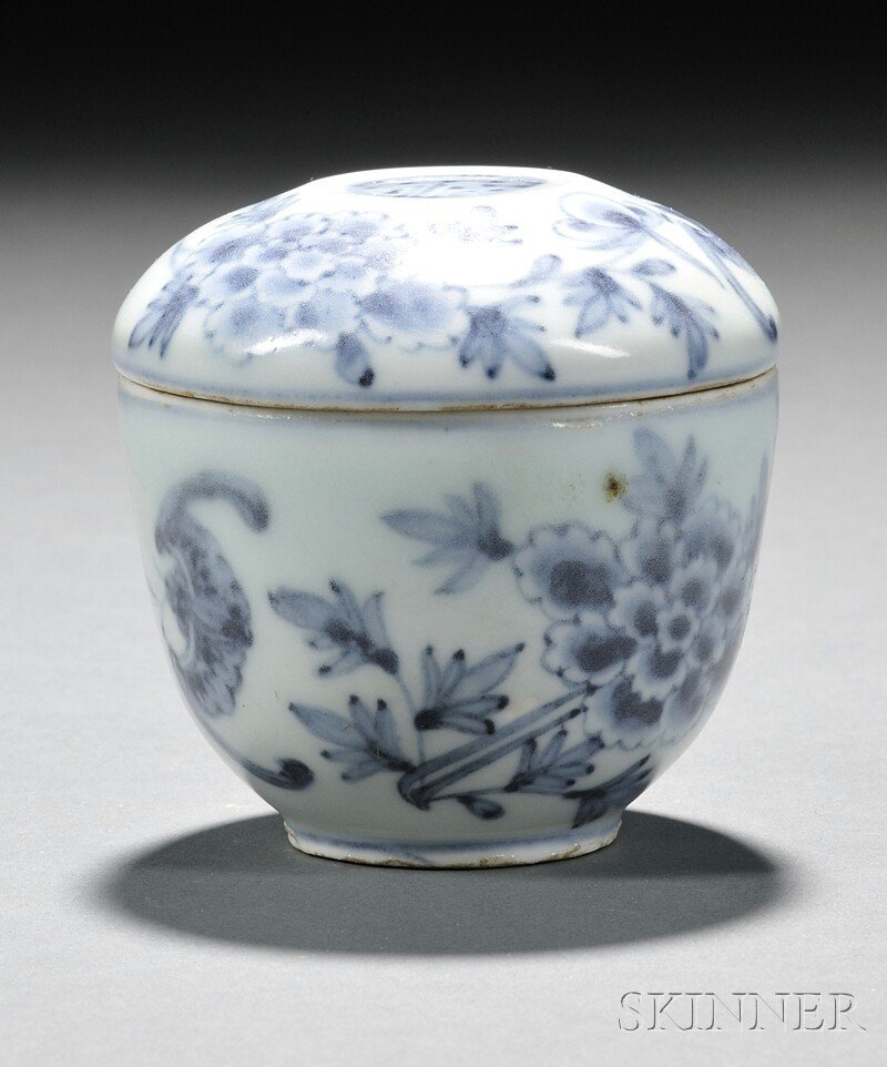 9: Blue and White Covered Bowl, Korea, decorated with b