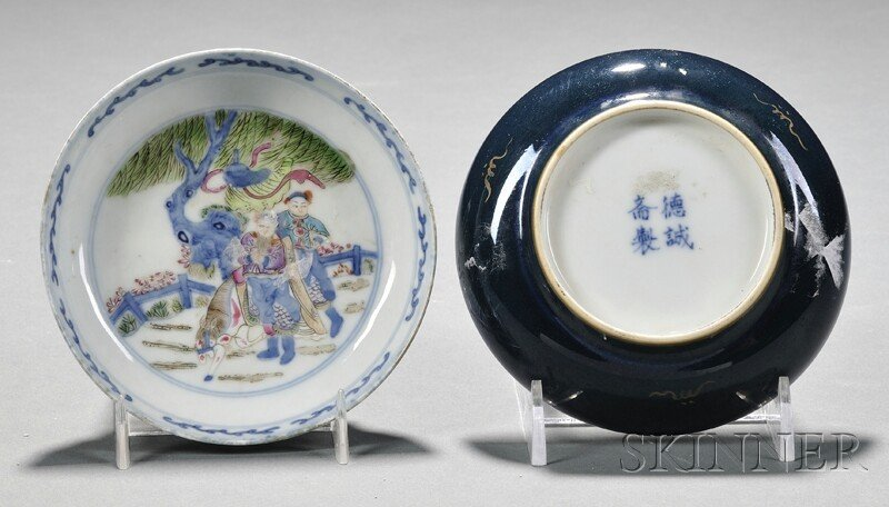 9A: Pair of Dishes, China, blue and enamel decaration,