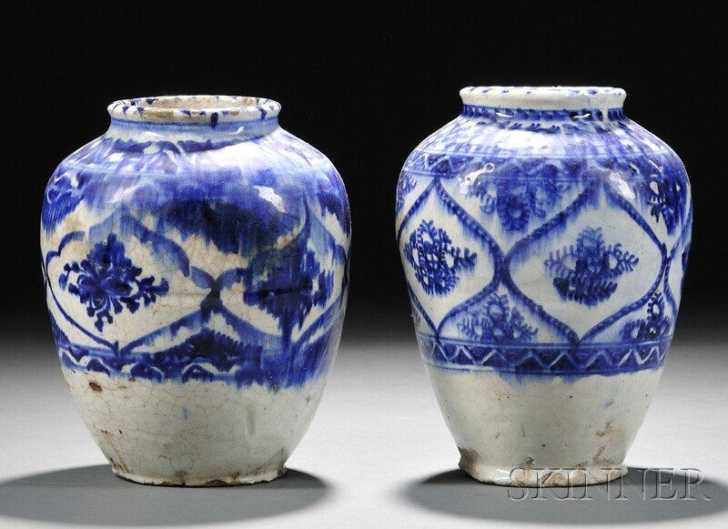 15: Two Blue and White Pottery Vases, Persia, stylized